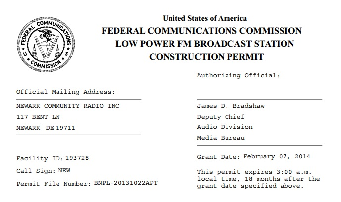 FCC Construction Permit